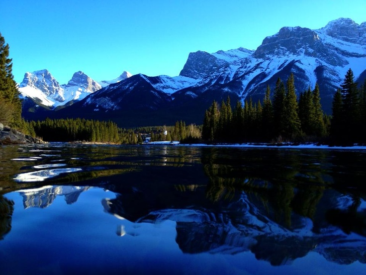 Bow River,Canmore Alberta with the 3 sisters,Hope,Faith & Charity