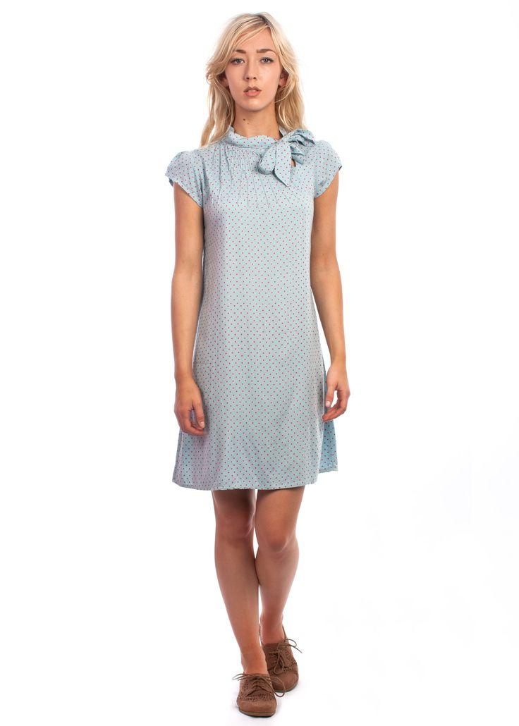 The polka dot Twiggy dress #1960s #60s #vintage #style #polka #dot #shift #dress #blue