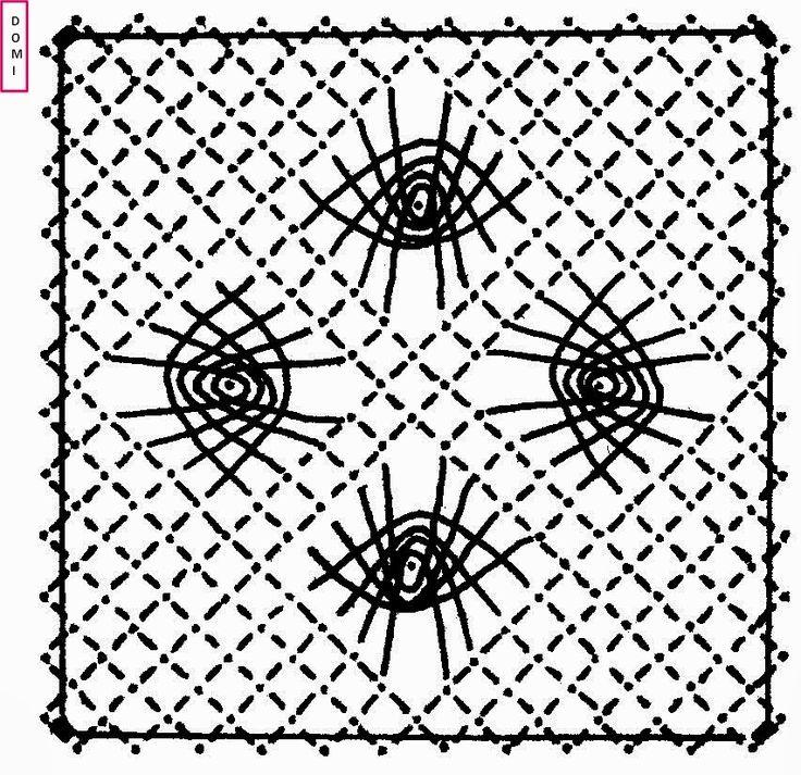 Le carré n° 5 est composé d'araignées sur un fond torchon Si vous réalisez un ouvrage avec les cartons proposés par Dominique, ...