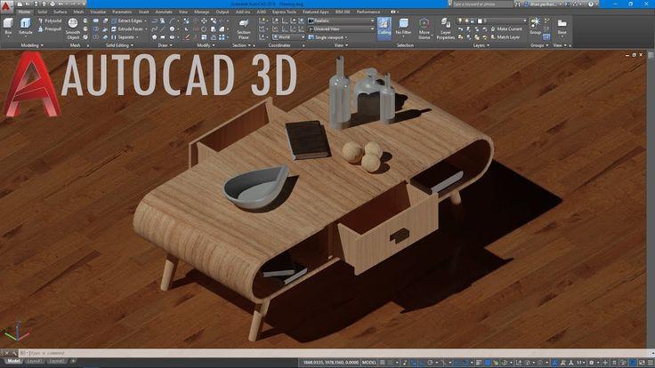 AutoCAD 3D Orta Sehpa Çizimi/3