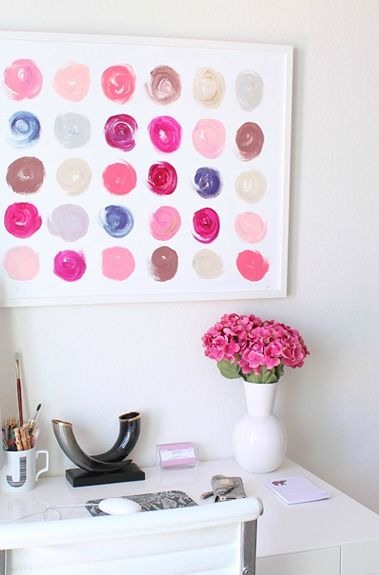 artsy old soul: Wall Art, Girls Offices, Painting Swatches, Diy Art, Creative Wall, Nails Polish Offices, Colors Boards, Easy Canvas Painting, Nails Polish Colors
