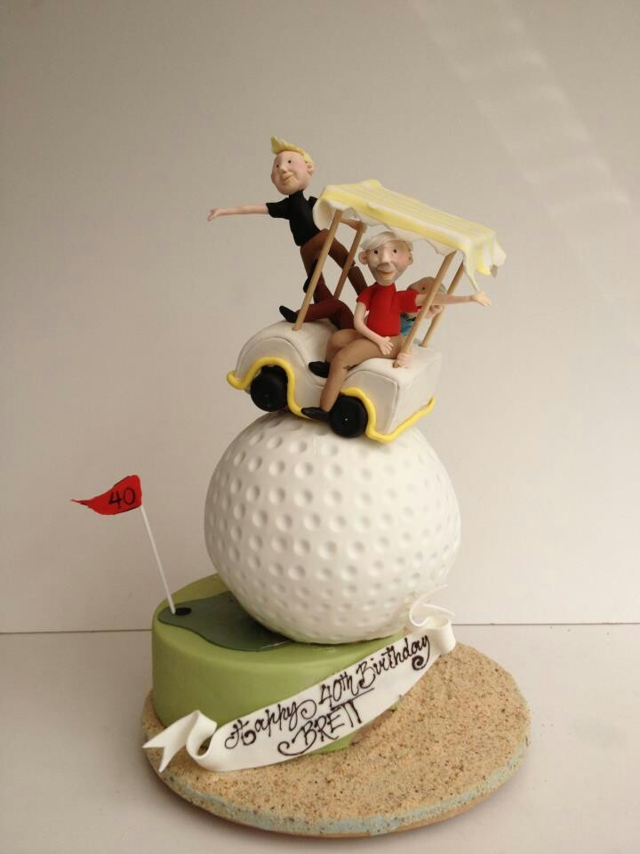Golf cart balancing on a golf ball cake