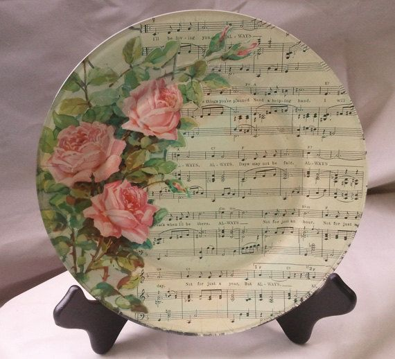 have to try this - pix from ALWAYS Decoupage Glass Plate featuring Vintage Sheet Music. $60.00, via Etsy.