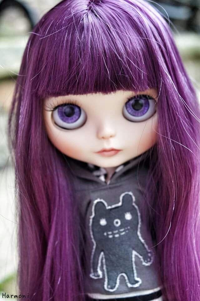 Violet purple hair ooak blythe doll