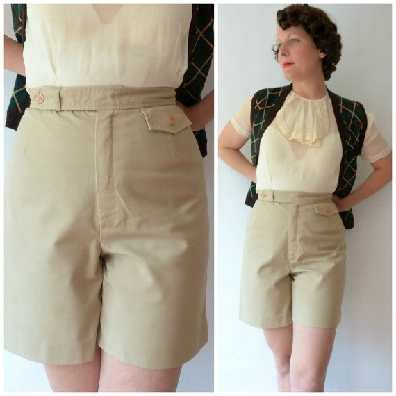 Fantastic Vintage 50s Safari Pin Up Shorts by fridalarsensvintage, £38.00