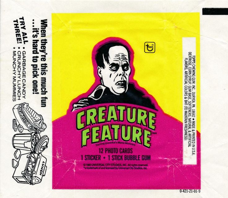 1980 TOPPS CREATURE FEATURE PHANTOM OF THE OPERA WAX WRAPPER