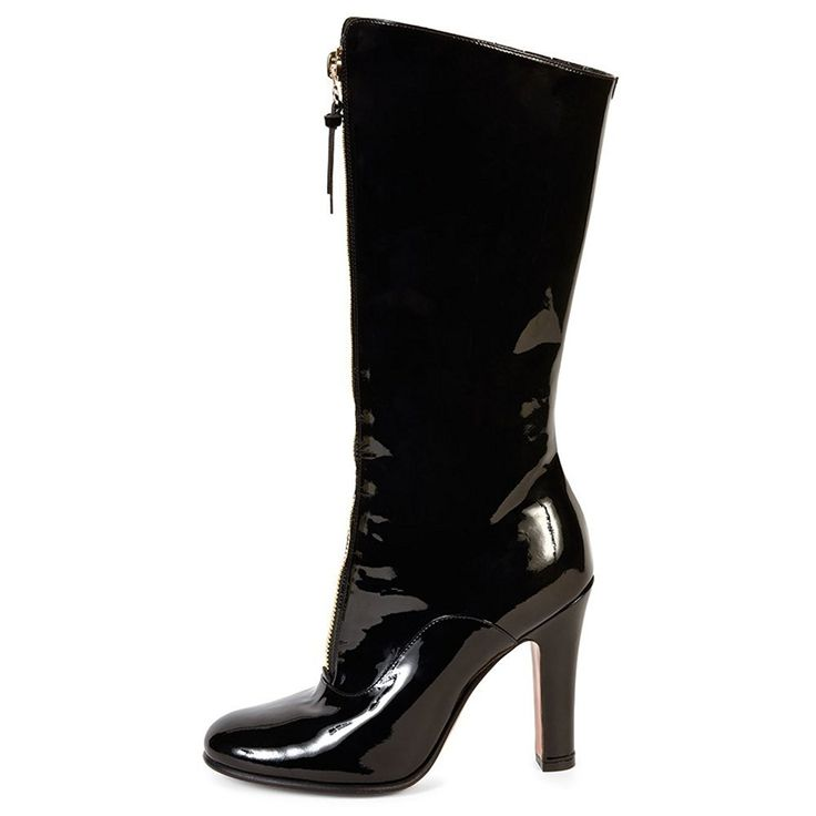 Juoar Women's Big Size Round Toe Zipper Black High Heels Mid Calf Boots Ladies Winter Warm Shoes -- Check out this great product.