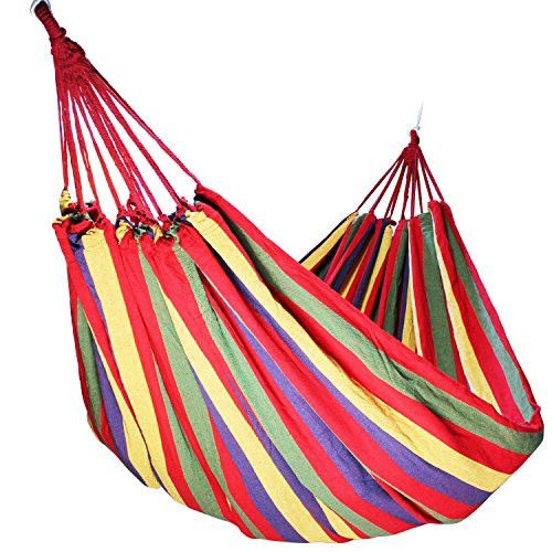 YUEDGE Single Cotton Fabric Canvas Brazilian Hammock For Patio Yard, Backyard, Porch, Outdoor or Indoor Use Tree Hanging Swing(M Red)