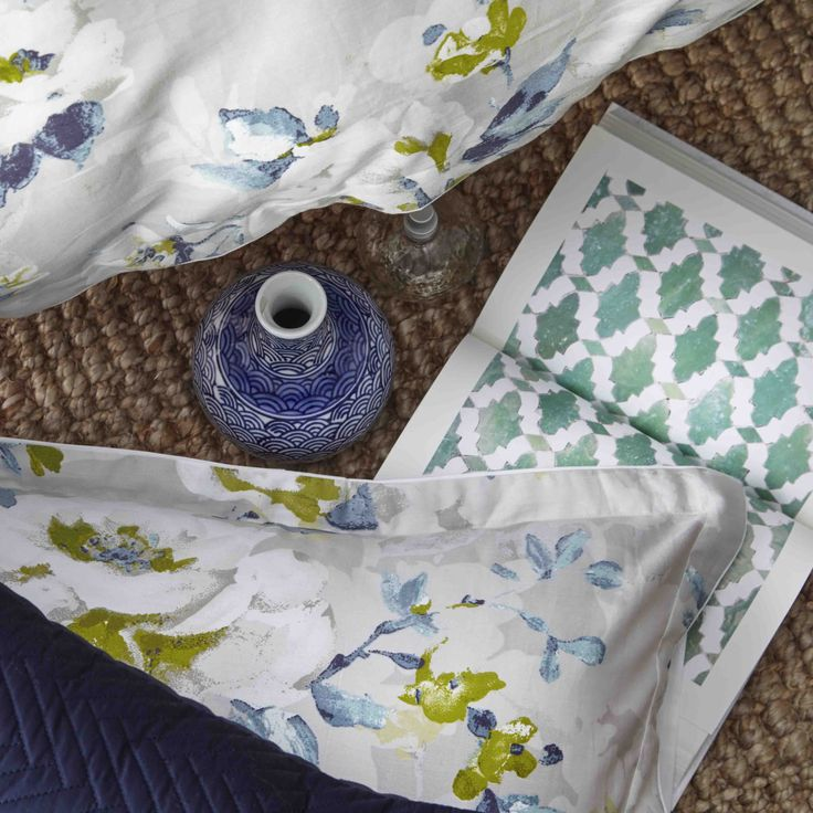 PRIVATE COLLECTION - Winslow Dove Quilt Cover Set #white #Linen #bedroom #floral #bed #décor #style #fashion