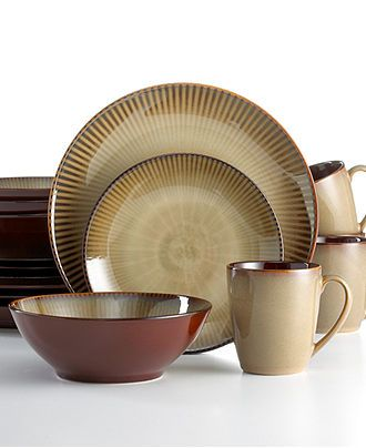 Sango Dinnerware, Focus Brown 16 Piece Set - Casual Dinnerware - Dining & Entertaining - Macy's Bridal and Wedding Registry