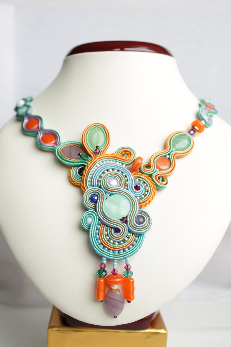 Soutache necklace for summer.. €60.00, via Etsy.