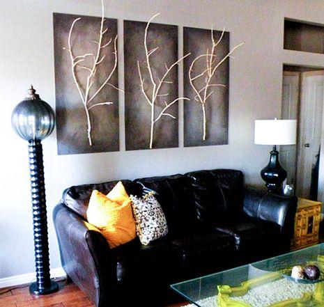 originelle Ideen Ast Zweigdekorationen Inneren Wohnzimmer