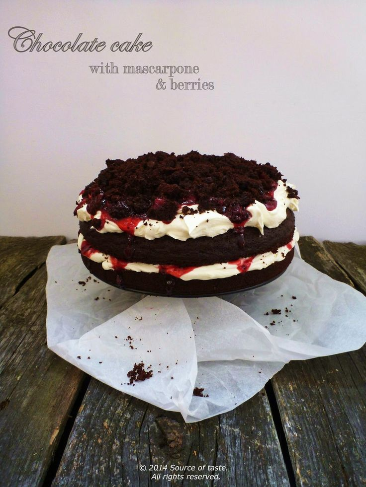Chocolate Cake with mascarpone & berries