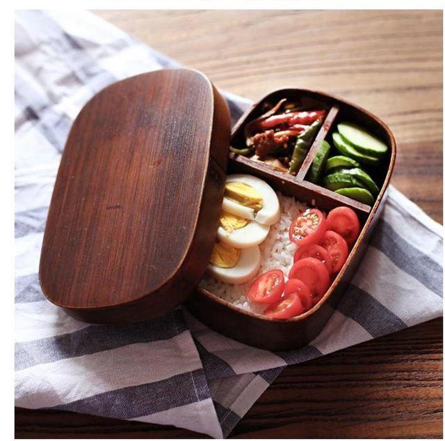 Cajas de madera caja de almuerzo de bento japonés hecho a mano de madera natural cuadro sushi vajilla tazón Recipiente de Comida
