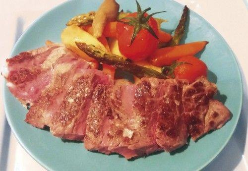 Lomo bajo de Ternera Longhorn a la parrilla con verduras de temporada http://www.carnivorosgourmet.es/ver_recetas_gourmet.php?id_receta=394 #recetas de Rubén Cordero