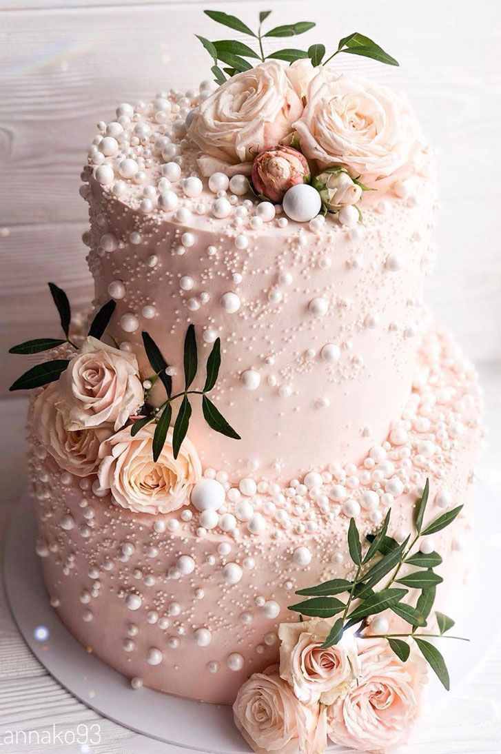 32 Jaw-Dropping Pretty Wedding Cake Ideas – Blush pink two tier wedding cake,Wed… – Essen