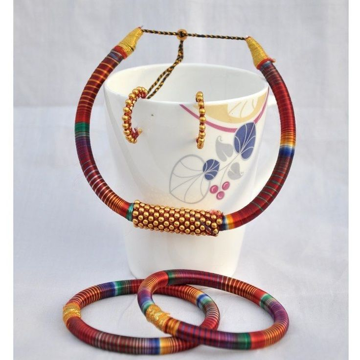 Jaipuri Maroon Silk Thread Necklace Earring Bangles Designer Womens Fashion Set