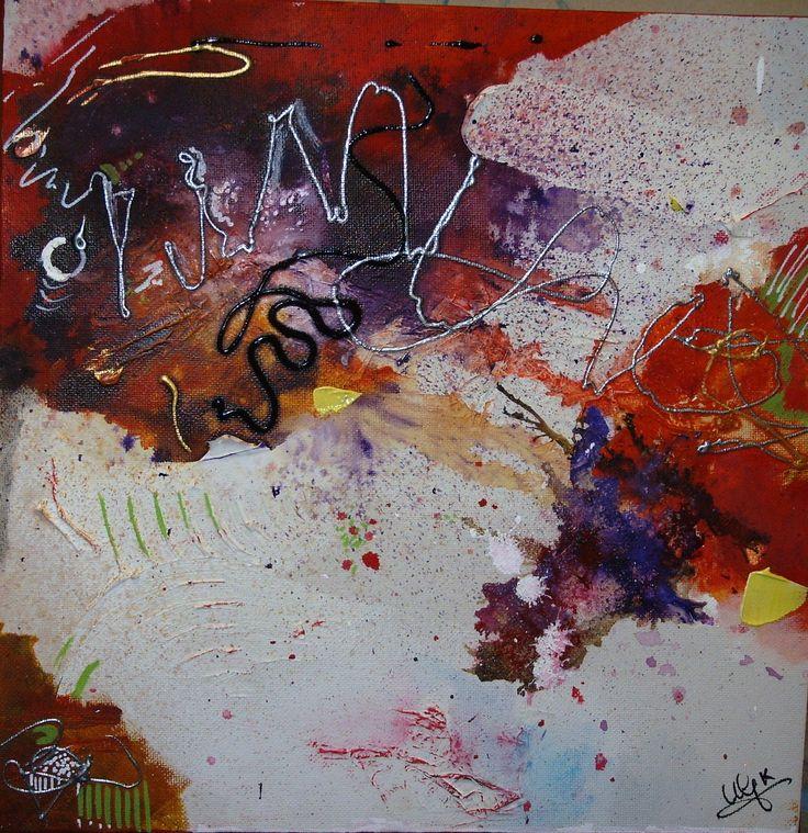 série 4 toiles - les couleurs de l'automne  40 x40 - Rouge