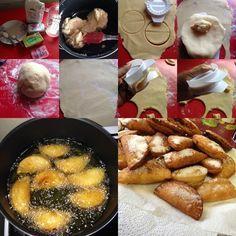 """Recette d'œuf de mulet,dit en créole guyanais """" Dizé Milé """"  la crème impériale: -1 litre de lait -1 petite boîte de lait concentré sucré - 3 sachets de crème impériale -Vanille,muscade,citron et cannelle.  pâte : -500 grammes de Farine de blé -40 centilitres d'eau -2 cuillères de Saindoux (graisse de porc) -4 cuillères à soupe de beurre -1 sachet de levure -1 cuillère à café de sel -2 cuillères à soupe de sucre"""
