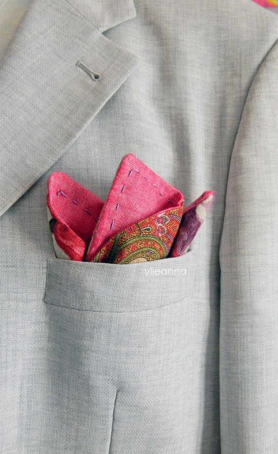 Mens pocket square  double sided  by ylleanna. Men's accessories, gentleman, dapper,made in italy, italian fashion, men's fashion.