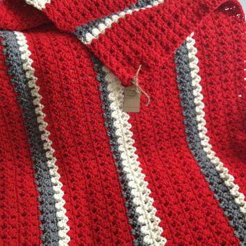 Red Grey Black White Crochet Blanket Afghan Google