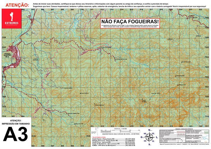 Mapa topográfico da Travessia da Serra Fina