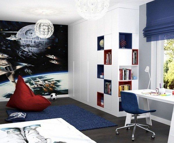 Teen bedroom wall decoration ideas blue white interior accent wall photo wallpaper space theme