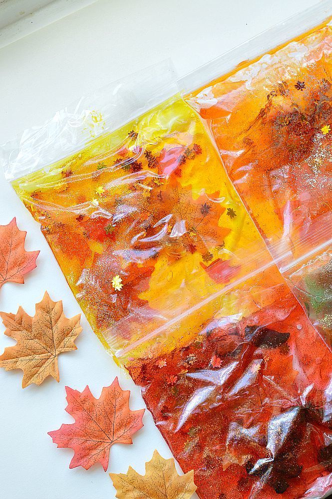 Easy DIY fall sensory bags for preschool.