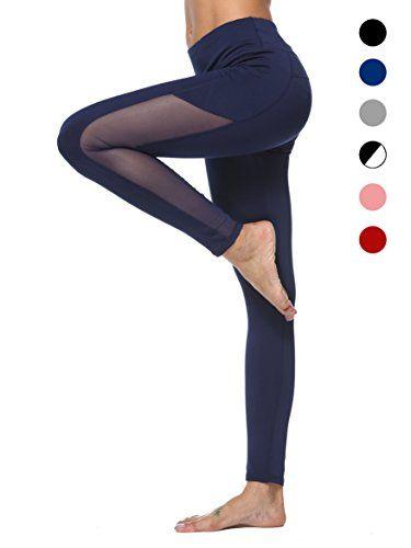 dh Garment Legging de Sport Femme Pantalon Fitness Amincissant Taille Haute  Poche Tenue Sport Yoga Zumba Gym Running (Large) 138d84994c8