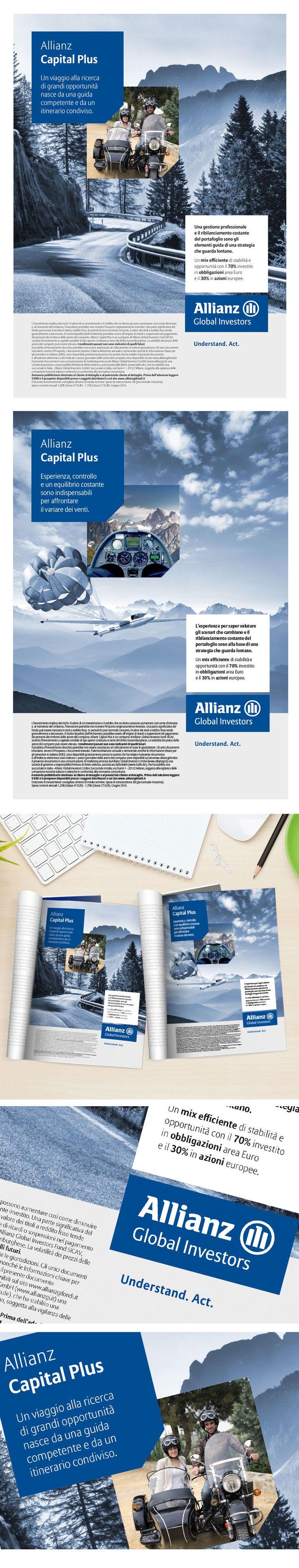 Allianz GI ha affidato a bcentric lo studio della campagna adv Capital Plus. Abilità ed esperienza per cogliere le migliori opportunità dai mercati obbligazionari sono le peculiarità che posizionano Capital Plus al top nella sua categoria. I visual scelti evocano l'equilibrio e la guida sicura per un viaggio alla ricerca di grandi opportunità in tutta sicurezza.