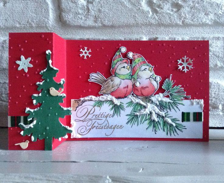 Cling Rubber Stamp v Stampendous ingekleurd met Derwent kleurpotloden- kerstboom: MD Creatable Lr0136