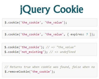 jQuery Cookie – jQuery Plugin for Reading, Writing and Deleting Cookies  #jQuery #cookie #lightweight