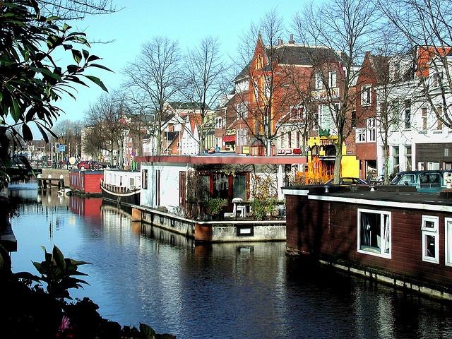 Canalhouseboats at Schuitendiep Groningen The Netherlands