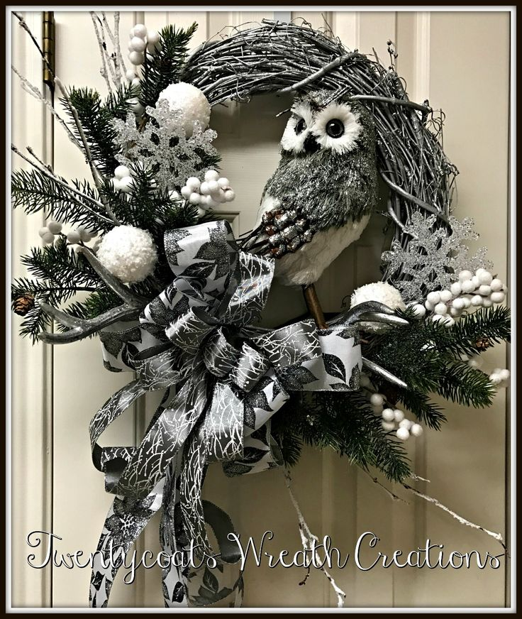 Rustic silver owl with antlers on grapevine wreath by Twentycoats Wreath Creations (2016)