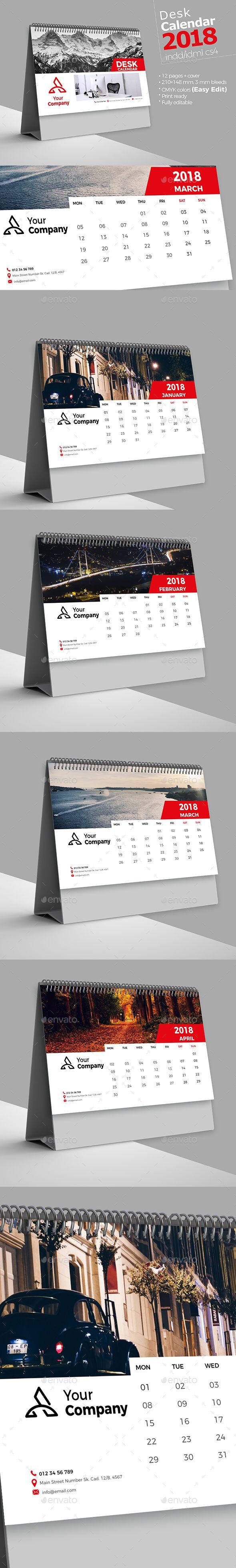 Desk Calendar 2018 Template InDesign INDD #design