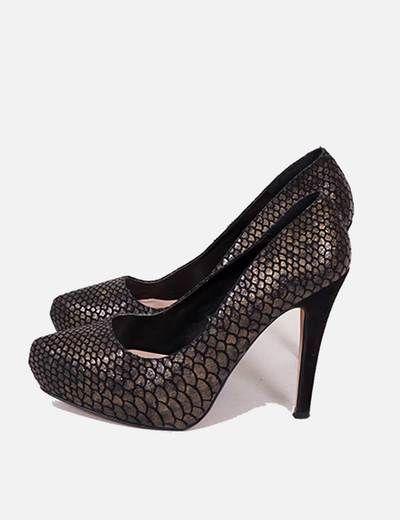 Zapatos tacón efecto piel serpiente dorados Marypaz