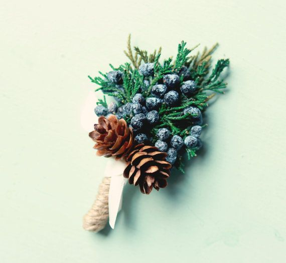 Winter wedding boutonniere, Dried greenery, Juniper buttonhole, groomsmen, Woodland boutonniere, Holiday winter, Christmas wedding