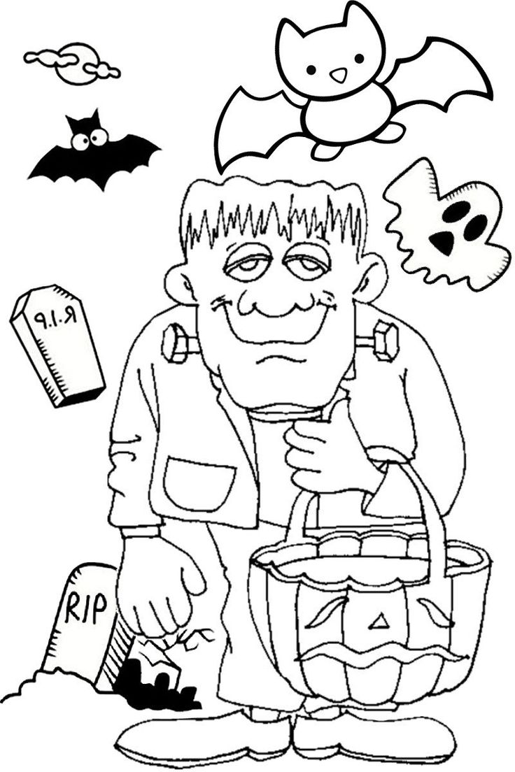 Jack O Lantern Coloring Pages Halloween Frankenstein