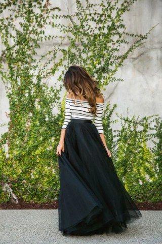 Tüllrock kombinieren: Wunderschön mit Carmenshirt