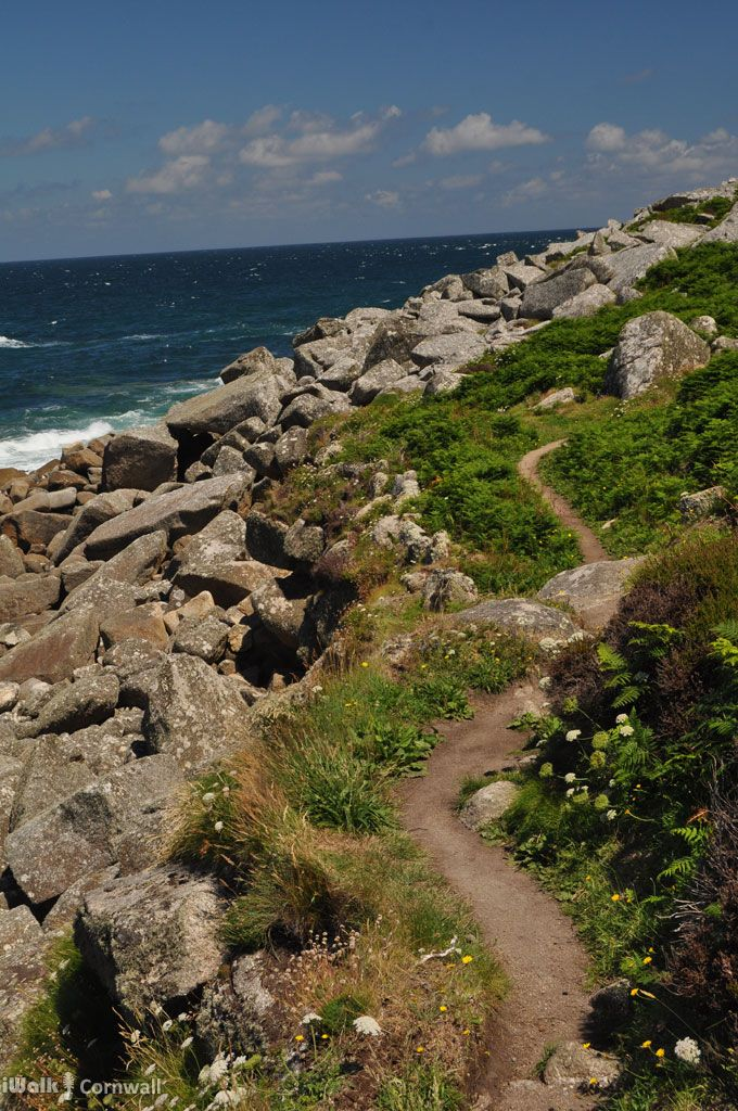 Footpath along Tregerthen Cliff, near Zennor, Cornwall