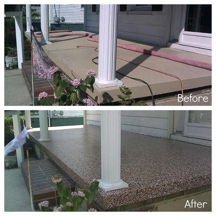 Patio Ideas With Existing Concrete Slab: Before And After Of Cement Porch Painted With Epoxy Paint