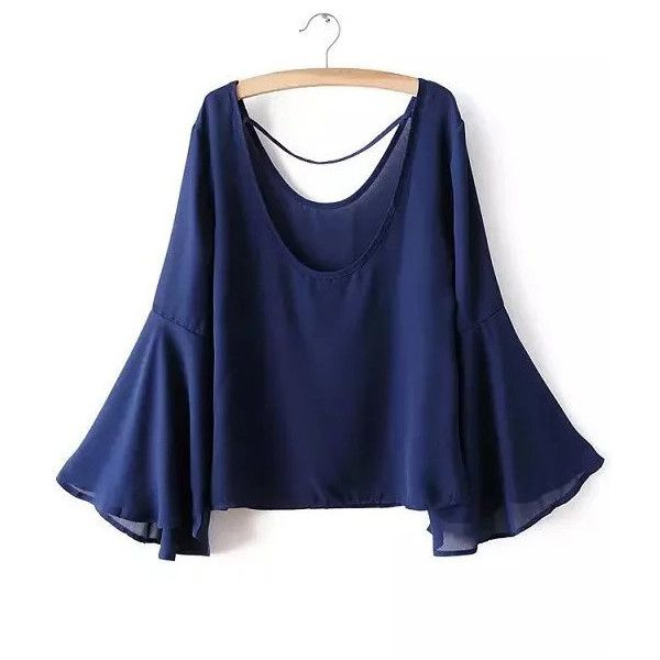 Royal Blue Scoop Neck Bell Sleeve Blouse ($15) ❤ liked on Polyvore featuring tops, blouses, blue, scoop neck blouse, royal blue blouse, blue blouse, royal blue top and long sleeve blouse