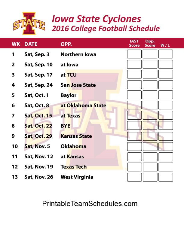 Iowa State Cyclones  Football Schedule 2016. Printable Schedule Here -  http://printableteamschedules.com/collegefootball/iowastatecyclones.php