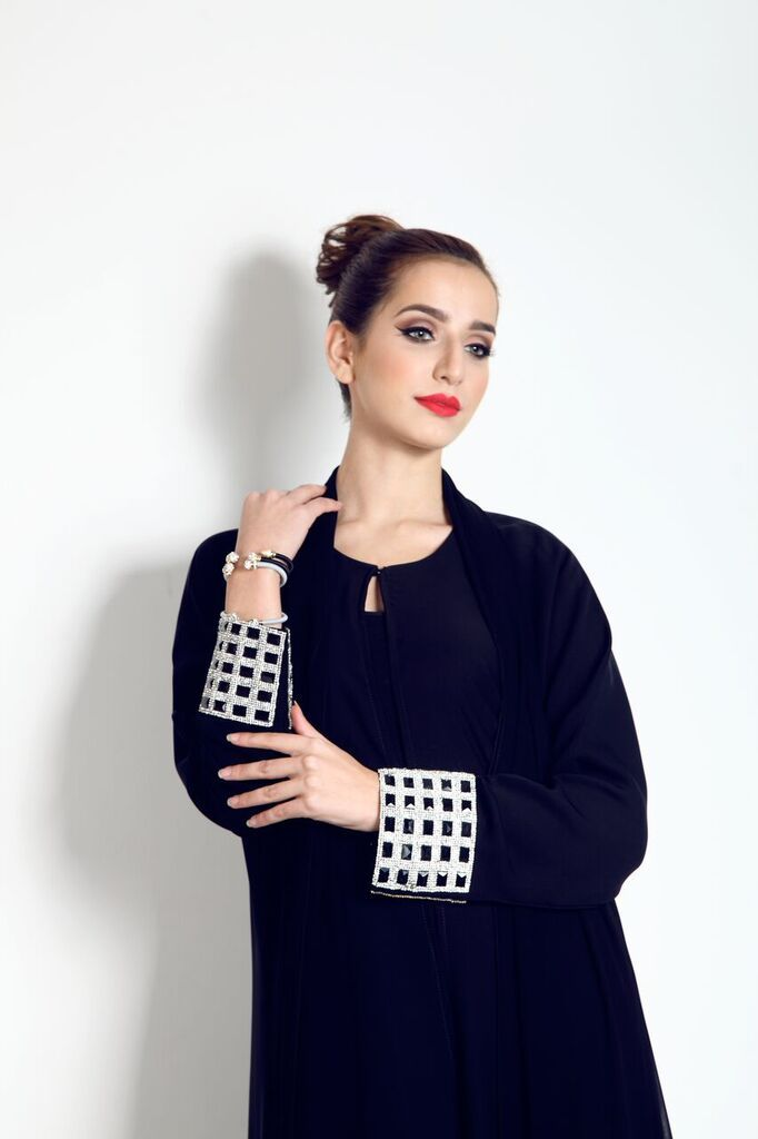 This stunning black crystal sleeve Abaya with lace, is available from our website now for just £80