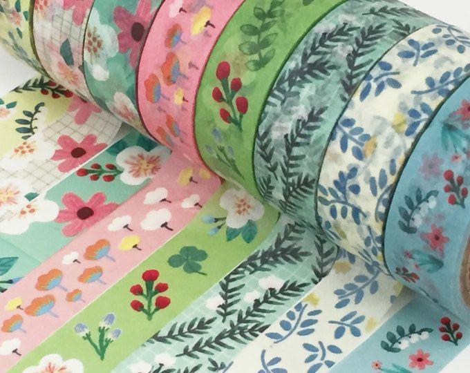 Floral Washi Tape Set - 8 Roll Set, Flower Foliage Washi Tape, Tulip Passion Flower Washi Tape, Leaves Leaf, Washi Tape Selection. Washi tape products are one of the most popular trends in the crafting world right now. This low tack, decorative tape can be used to add both pattern and colour to almost any project including scrapbooking, card making, upcycling and so much more!.