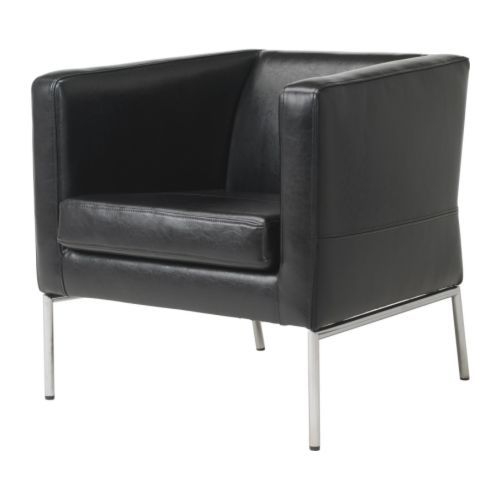 a little ikea never hurt!  plus we already have this.  black leather chair for reading area, via ikea: Leather Sofas, Black Leather, Klappsta Chair, Leather Chairs, Klappsta Armchair, Leather Armchairs