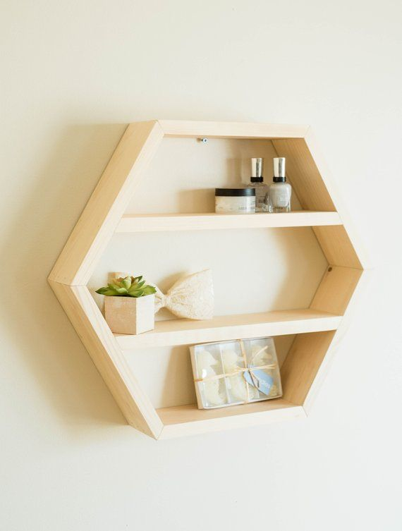 Large Wood Hexagon Shelf Essential Oil Wall Rack Spice Organizer Nursery Toy Storage Doterra Young Living Holder Geometric Bedroom Art Hexagon Shelves Shelves Wood Hexagon