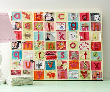 I love this idea, but finding the letters and making it just the right size might drive me crazy.  http://www.bhg.com/decorating/do-it-yourself/fabric-paper-projects/clever-art-with-paper-scraps/?page=8#page=9