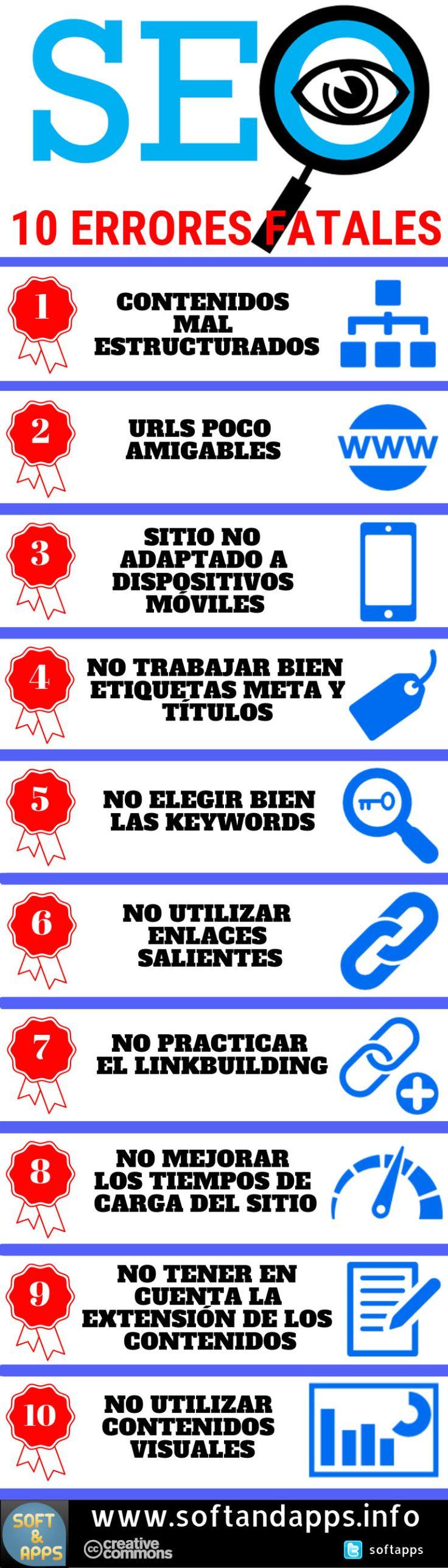 Posicionamiento SEO 10 errores fatales que no debes cometer, es el título de una infografía con los errores a evitar para no perder el ranking de tu web.