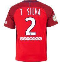 PSG 2016-17 Season Away #2 T. SILVA Red Soccer Jersey